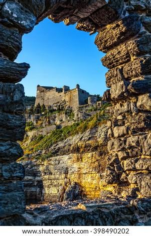 Doria Castle in the Italian town of Portovenere. - stock photo