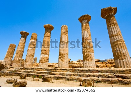 Dorian columns of Temple of Heracles in Valley of the Temples in Agrigento, Sicily