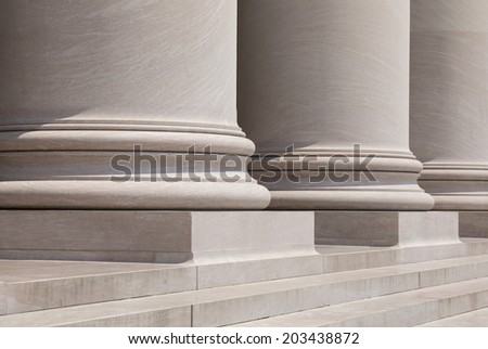 Doric Columns and Steps at a Court House - stock photo