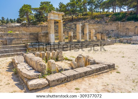 Doric Temple at  Ancient Kamiros on the Aegean coast of Rhodes, Dodecanese Greece Europe - stock photo