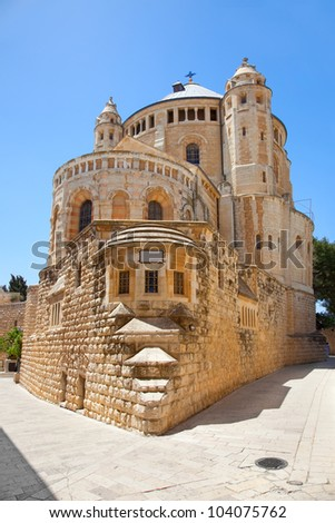Dormition Abbey church - This church is a landmark of the city, and is the site where the Virgin Mary is said to have died, or fell into 'eternal sleep' . Jerusalem. Israel - stock photo