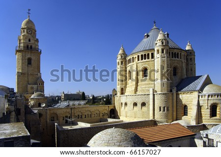 Dormition Abbey - Jerusalem.  This church is a landmark of the city, and is the site where the Virgin Mary is said to have died, or fell into 'eternal sleep'. - stock photo