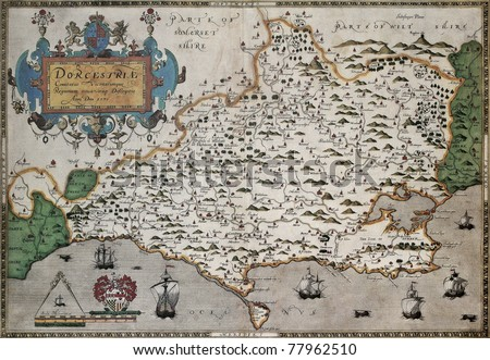 dorset old map from atlas of england and wales created by christopher saxton
