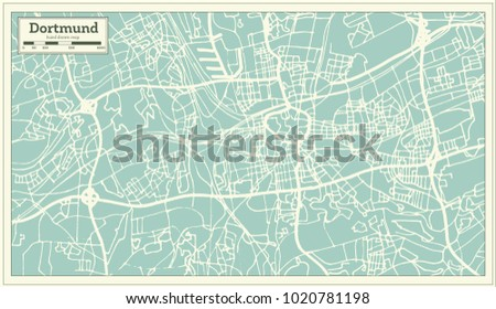 dortmund germany city map in retro style outline map