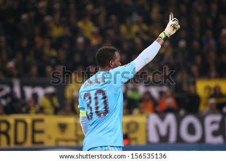 DORTMUND, GERMANY - OCT 1: Steve Mandanda (Marseille) during a Champions League match between Borussia Dortmund & Olympique de Marseille, final score 3-0, on October 1, 2013, in Dortmund, Germany.