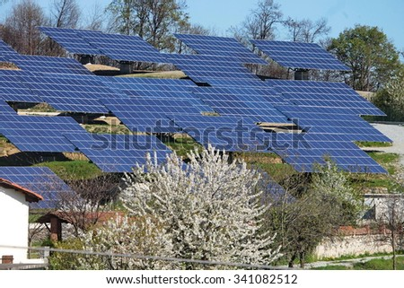 Dorzano, Italy - May 5, 2013: group of photovoltaic panels for renewable electric energy production