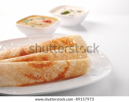 dosa Sambar with Coconut Chutney, Indian Food - stock photo