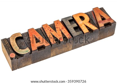 dot camera - photography website internet domain in vintage letterpress wood type - stock photo