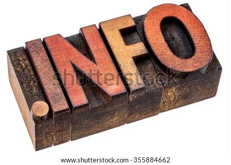 dot info - information site internet domain in vintage letterpress wood type - stock photo
