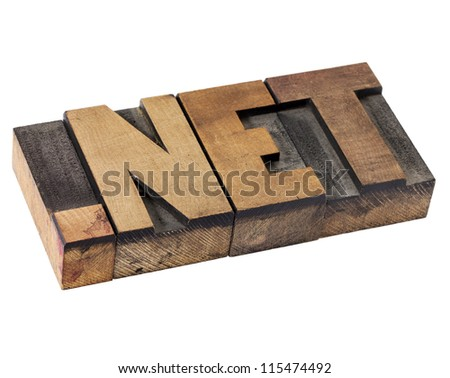 dot net internet domain  for network - isolated text in vintage letterpress wood type - stock photo