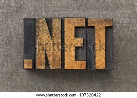 dot net   - network internet domain in vintage wooden letterpress printing blocks on a grunge metal sheet - stock photo