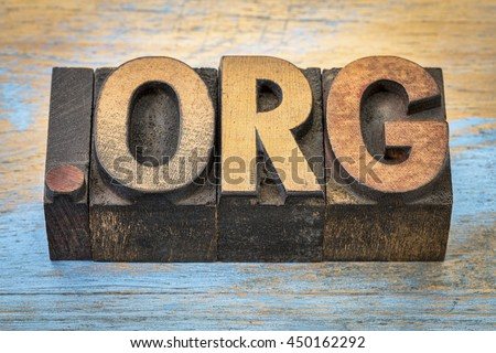 dot org internet domain for a nonprofit organization - text in vintage letterpress wood type blocks stained by color inks - stock photo