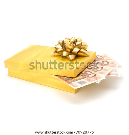 Dotation concept. Money inside gift box isolated on white background. - stock photo