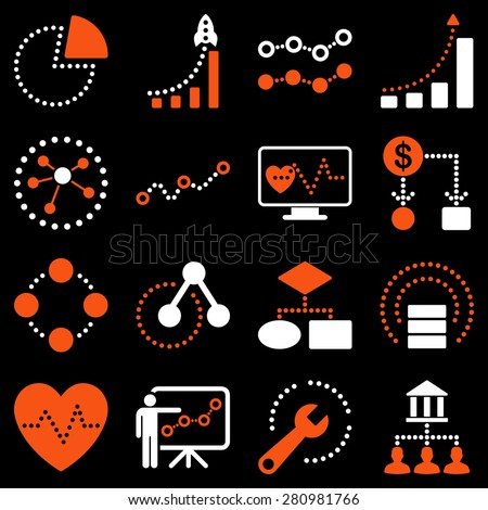 Dotted business graphics icons on a black background. This bicolor raster icon set uses orange and white colors.  - stock photo