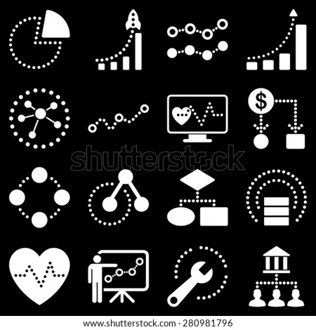 Dotted business graphics icons. White icons on a black background. - stock photo