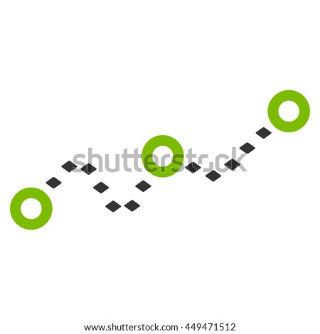Dotted Chart glyph toolbar icon. Style is bicolor flat icon symbol, eco green and gray colors, white background, rhombus dots.