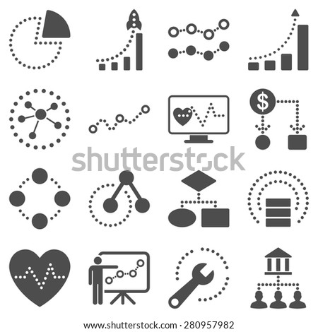 Dotted infographic business icons. Gray symbols on a white background. - stock photo
