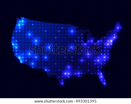 Dotted Night Map United States America Stock Illustration - Us map night