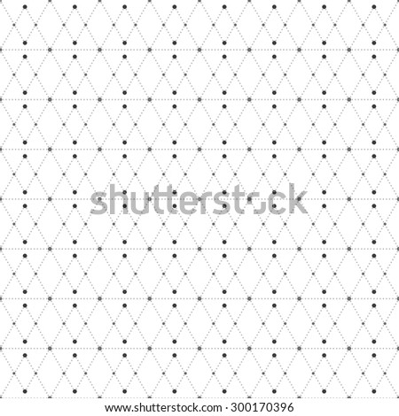 Dotted pattern with rhombus and nodes. Repeating modern stylish geometric background. Simple abstract monochrome texture.