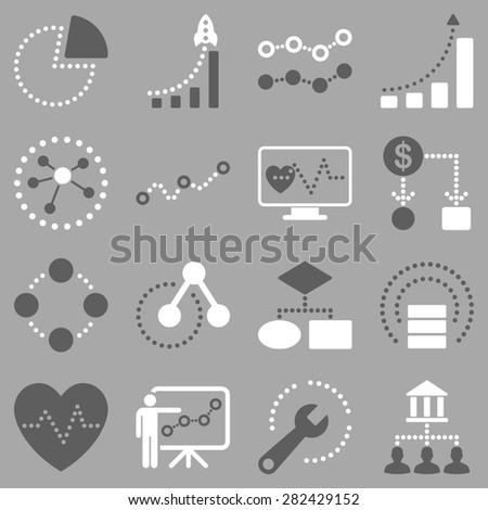 Dotted raster infographic business icons. This bicolor raster icon set uses dark gray and white colors and gray background. - stock photo