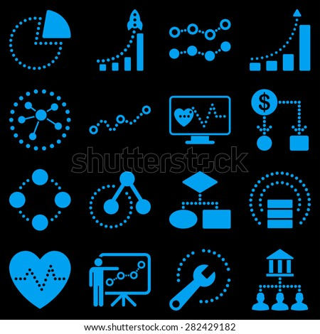 Dotted raster infographic business icons. This raster icon set uses blue color and black background. - stock photo