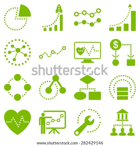 Dotted raster infographic business icons. This raster icon set uses eco green color and white background. - stock photo