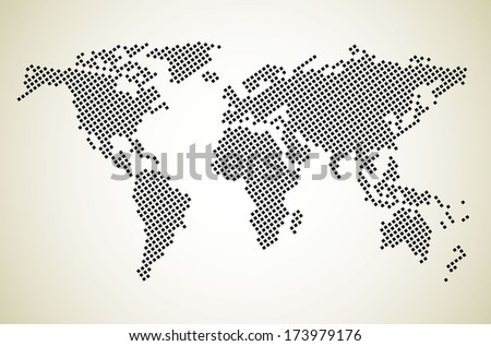 Dotted world map - stock photo