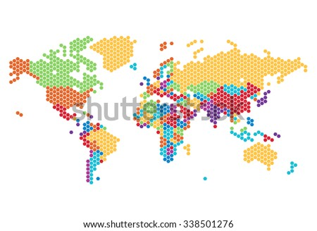 Dotted World map of hexagonal dots on white background.