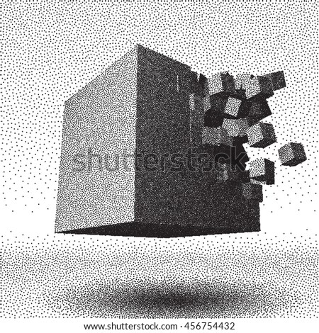 Dotwork raster cube object explosion with cubical particles - stock photo