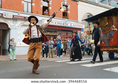 DOUAI, FRANCE - JULY 12, 2015: Vaudevillian performs in the festival of Gayant. Gayant the giant is the symbol of Douai. Each year at the beginning of July, the Gayant festival takes place.