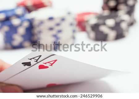 Double A poker hand - stock photo