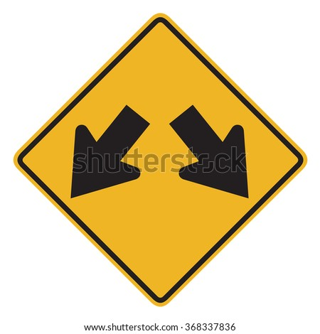 Double arrow w12 road sign - stock photo