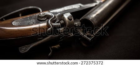 Double barrel shotgun (for targets, trap shooting and sporting clays) - stock photo
