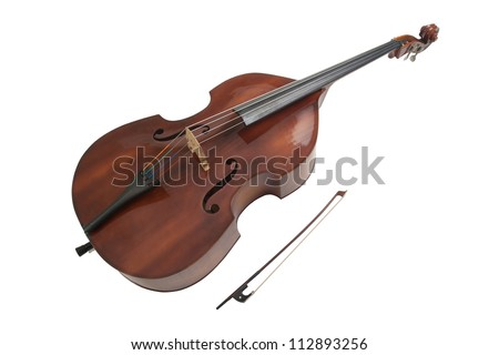 Double bass or string bass, upright bass, stand up bass or contra bass - stock photo