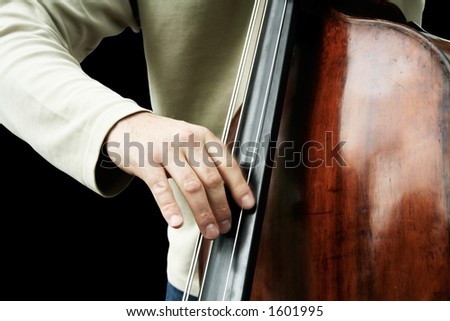 Double bass player - stock photo