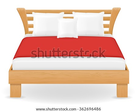 double bed furniture illustration isolated on white background