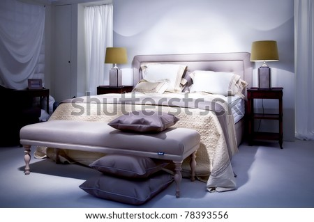 double bed in classic style - stock photo