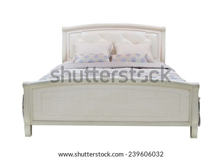double bed isolated under the white background - stock photo