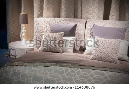 double bed  textile - stock photo