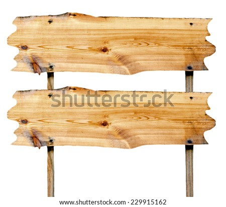 double billboard wooden close-up isolated on white background - stock photo