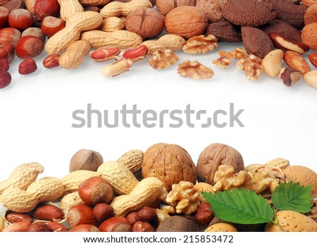 Double border of a selection of fresh nuts including almonds, hazelnuts, brazil nuts, peanuts and walnuts both shelled and in their shells on white with central copyspace - stock photo