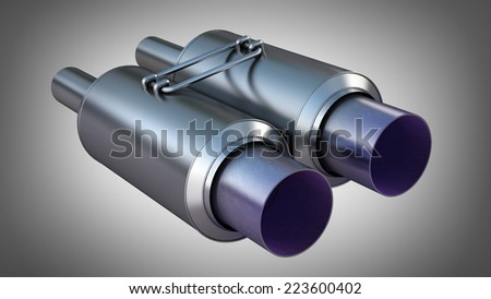 double Car Exhaust Pipe chromed. High resolution 3d render - stock photo