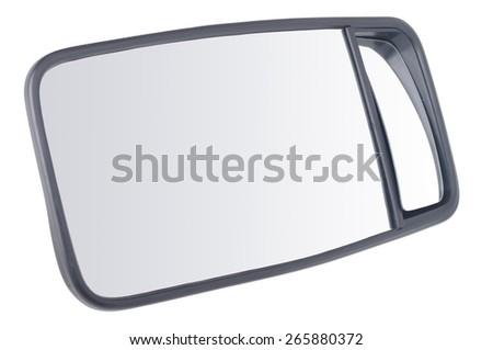double car mirror isolated on white  - stock photo