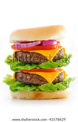 Double cheese burger isolated against a white background - stock photo
