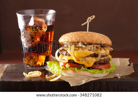 double cheeseburger with tomato and onion - stock photo