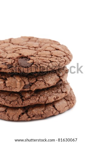 Double chocolate cookies isolated on a white background - stock photo