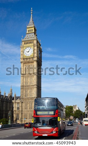 Double-decker bus on Westminster bridge in London - stock photo