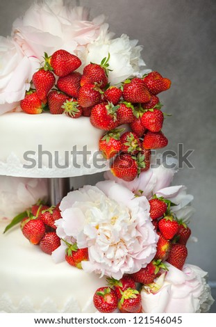 Double decker wedding cake made mass stock photo royalty free double decker wedding cake made of mass of sugar with fresh red strawberries decorated with mightylinksfo