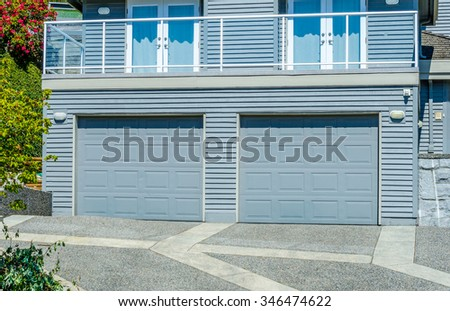 Double doors garage.  North America.