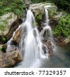 double dragon waterfall in lushan,China - stock photo